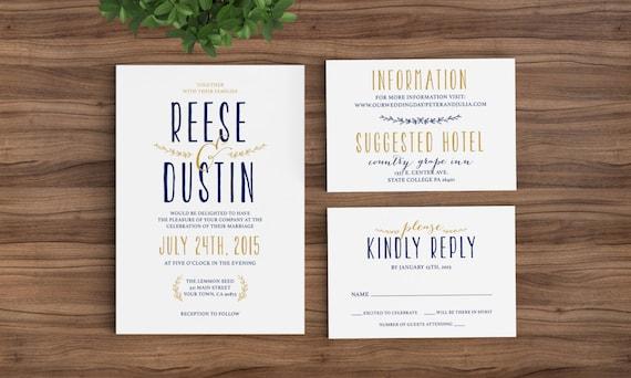 Wedding Invitation Template Classic Modern Rustic Simpe – Modern Rustic Wedding Invitations