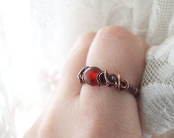Carnelian Ring - Wire Wrapped Copper Bohemian elvish Ring with Red Carnelian