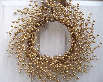 Gold Berry Wreath, Wedding Decor, Wedding Wreath, Bridal Shower, Golden Anniversary, Holiday Wreath, Gold Christmas Wreath for Front Door