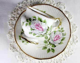 Elizabethan Teacup Tea Cup and Saucer Pink Shabby Roses 12390