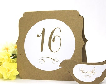 Table Number Tents - Rustic wedding event signs,  2-sided number cards, self-standing tented or flat, many colors