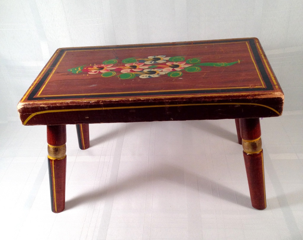 Wooden foot stool hand painted ebersol co