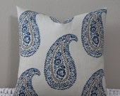"BOTH SIDES or Front Only - Kravet - Mandha Indigo Paisley - 18"", 20"", 22"" or 24"" Square Decorative Designer Pillow Cover"