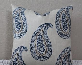 "Kravet - Madira Indigo Paisley - 18"" or 20"" Square Decorative Designer Pillow Cover"