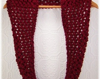 Hand Knit Cowl Scarf - Infinity Scarf - Circle Scarf - burgundy - Winter Accessories Winter Fashion - Sandy Coastal Designs - ready to ship