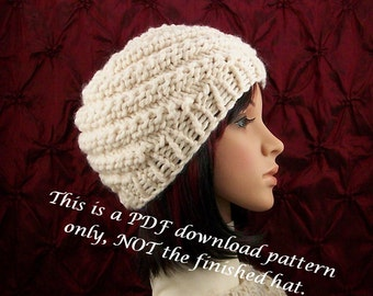 Instant download knit hat pattern - adult hat, beanie pattern - DIY beanie pattern - Sandy Coastal Designs - PDF instant download pattern