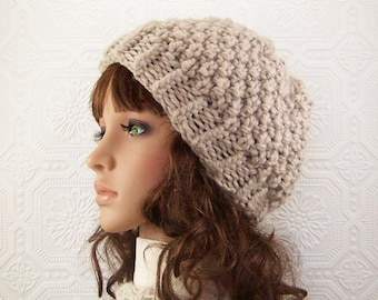 Hand knit hat - knit beanie - linen color - ready to ship women's winter accessories handmade by Sandy Coastal Designs