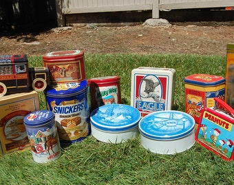 Lot of 12 Vintage Advertising Tins - Collectible Tins - Home Decor