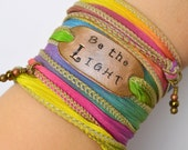 Be the Light ... Boho Silk Wrap Bracelet- Ribbon Bracelet- yoga- wrap bracelet -sailor studio