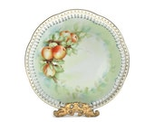 Fruit Decor Plate / Vintage / Handpainted and Signed / Peaches / Gold Dots & Trim / c1950s