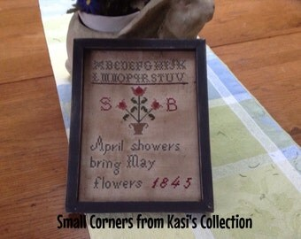 Primitive April Showers 1845 Sampler Repro