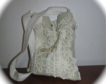 Small Linen Purse, handmade upcycled farm house cottage shabby and chic, doily fabric bag SMALL
