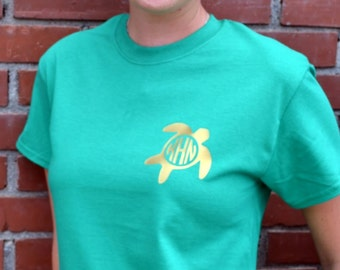 Turtle Monogram Pocket Tee - Short Sleeve - Sorority Gift  - Bridesmaid Gift