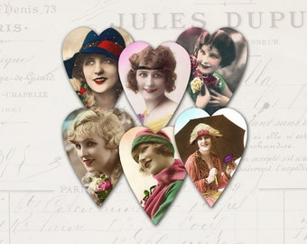 Vintage Women Hearts No 10 Flapper girls Tags Jewelry cards Digital sheet Instant download