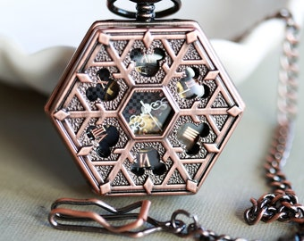 Copper Personalized Mens Pocket Watch,Mechanical Pocket Watch,Steampunk Pocket Watch,Pocket Watch Chain,Groom Gift,Groomsmen Gift