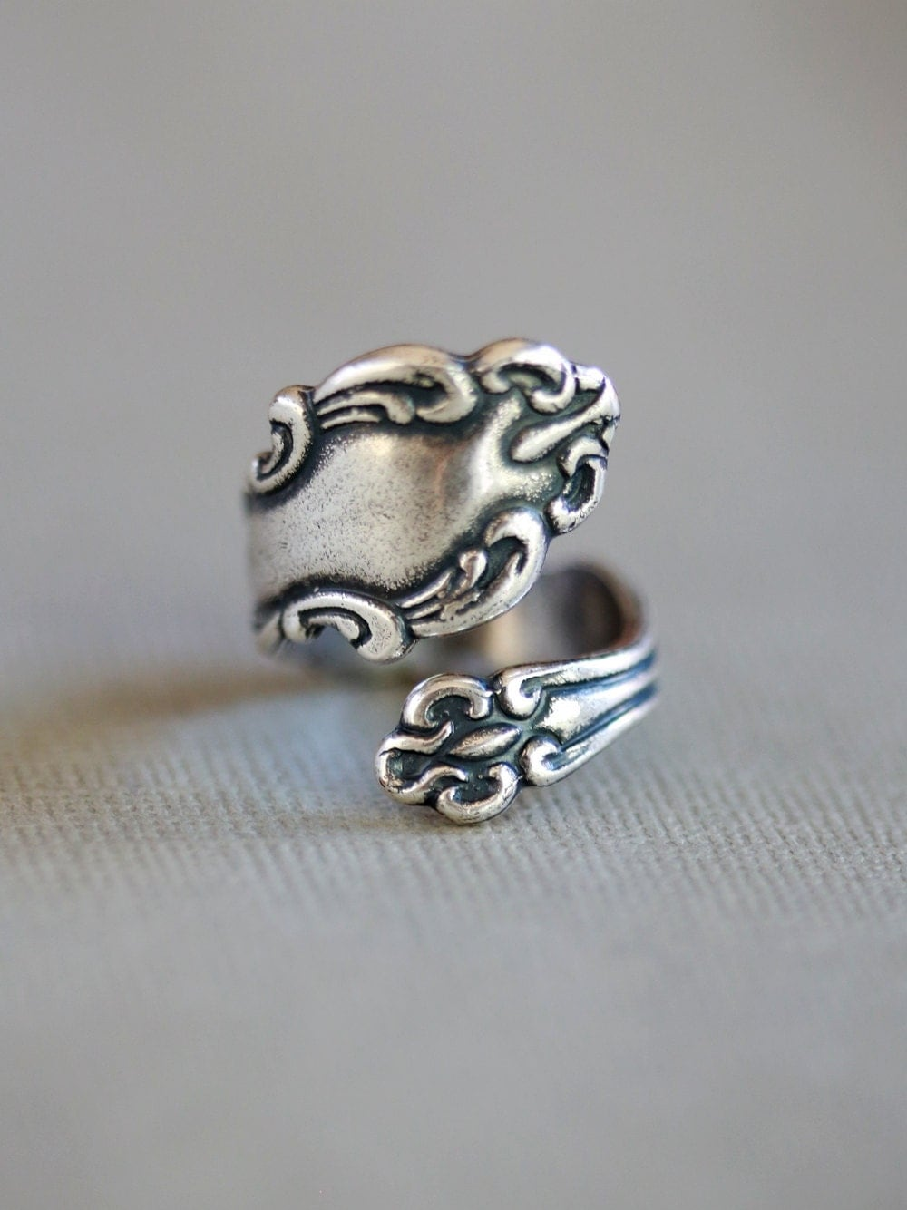 antique style spoon ring jewelry gift silver plated ring