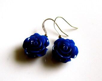 SALE***Navy blue rose earrings - Bridal earrings - Bridesmaids earrings