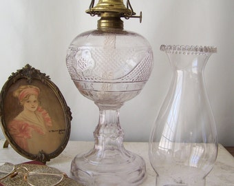 Antique Oil Lamp Purple Glass Mountain Laurel Tall Lamp with Rare Pale Amethyst Shade Central Glass Co Circa Late 1800s