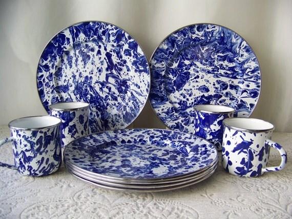 Vintage Enamelware Blue Marble Plates Cups Blue Swirl