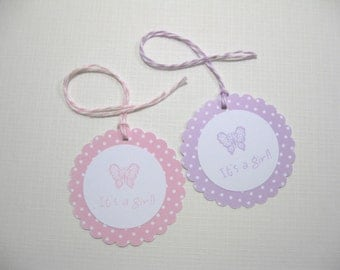 10 Lavender or Pink White Butterfly Polka Dots Baby Shower Tags- It's a Girl Tags - Gift Tags - Thank You Tags - Butterfly Tags
