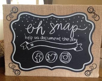 Social media chalkboard wedding sign, hashtag sign, facebook sign, twitter sign