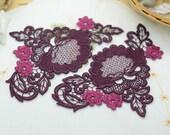 Venice Applique Trim - 1 pair Purple Flower  Applique Lace (A199)