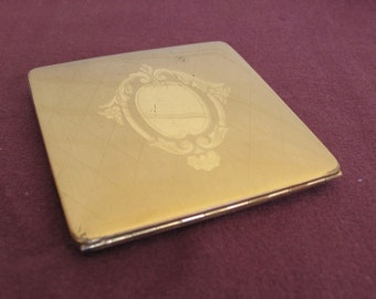 Vintage Gold Compact with Mirror and Applicator - Elgin American