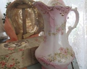 OCCO Limoges Antique Victorian Tea Pot Chocolate Pitcher Light Pink Gold Floral 1886-1912 Shabby Chic