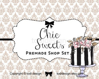 Chic Sweets -  Premade Etsy Shop Banner set and business card design
