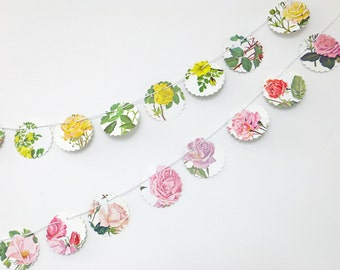 Mini bunting, Small garland, roses bunting, English garden, flower bunting, floral garland, paper bunting, recycled banner