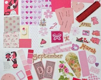 Pink Collage papers, Pink Paper Ephemera pack, Collage pack,  60 pieces paper scrap pack, Paper ephemera lot, paper scraps, craft supplies