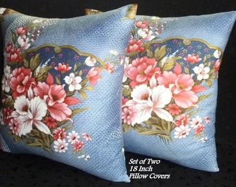 Decorative Pillows, Cushion Covers, Throw Pillows, Accent pillows, Home Decor - Set of Two 18 Inch - Blue and Pink Floral