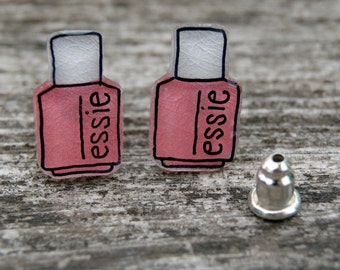Essie Nail Polish Earrings- 1.2 cm Illustrated Hand-Made Stud Earrings