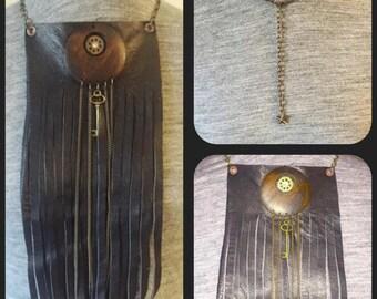 Black Leather Fringe Steampunk Bib Necklace