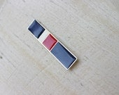 60s 70s Bar Military Red White Blue Enamel Brooch Pin