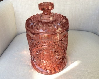 Cranberry Pink Lidded Imperial Hobstar Cut Glass Jar