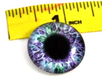 Purple and Green Glass Eye 1 inch Glass Cabochon 25 mm for Jewelry Making or Scrapbooking