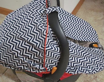 Car Seat Canopy / Cover - Fitted - Navy Blue and White Chevron fabric