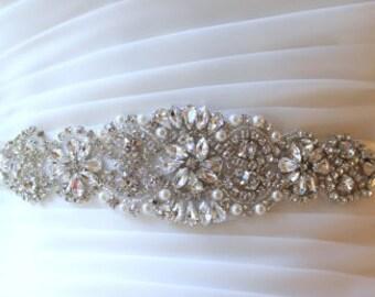 Bridal Silver Beaded Crystal Pearl Sash.  Rhinestone Applique Wedding Belt, 20 inch.  VINTAGE MODE II
