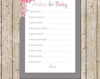 Pink and Gray Floral Wishes for Baby Card, Printable Baby shower game / activity card, Flowers Baby Wishes Baby Shower- INSTANT DOWNLOAD
