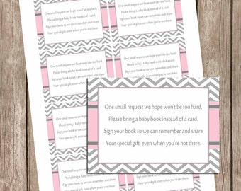 Pink and gray baby shower book instead of a card, chevron book insert, pink and grey, pink and gray baby shower,  pe1 INSTANT DOWNLOAD