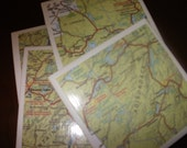 Map Coasters - Adirondack Mountain Map Coasters...Set of 4...Full Cork Bottoms...For Drinks and Candles
