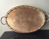 Bamboo Style Oval Brass Tray