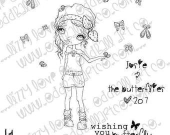 Digi Stamp Digital Instant Download Stamps B-Cute Whimsical Big Eye Girl w/ Sentiments ~ Josie & the Butterflies Image No. 207 by Lizzy