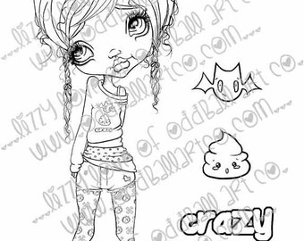 INSTANT DOWNLOAD Kawaii Creepy Cute Digital Stamps Crazy Callie Image No. 243 by Lizzy Love