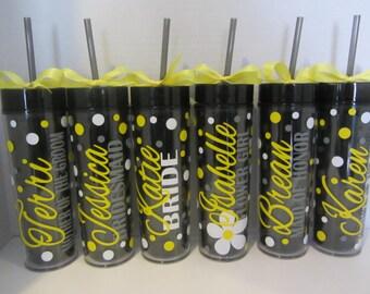 9 Skinny personalized acrylic tumblers - wedding - Quantity of 9 - wedding party