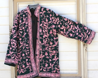 Girls Vintage Asian Jacket, Mandarin Collar, Pink Embroidery on Forest Green, Fully Lined, Long Sleeve, Button-up, Size 10 12 14