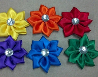 Lot of 50  8-point Satin Flowers mix or match - Floral decor, sewing projects, weddings, birthdays, DIY, Hair Accessories