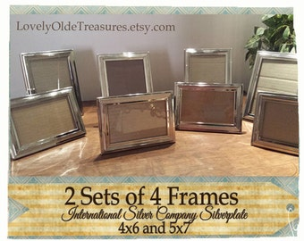 Vintage Set of Silver Frames- Silver Plated- 4x6 Photo- 5x7 Picture- Lot of Silverplated Frames- Wedding Frame Set- Photo Wall 21 Frame Set