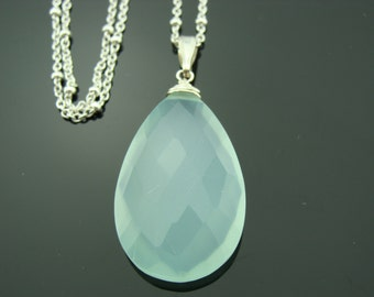 Large Aqua Blue Chalcedony Sterling Silver Pendant